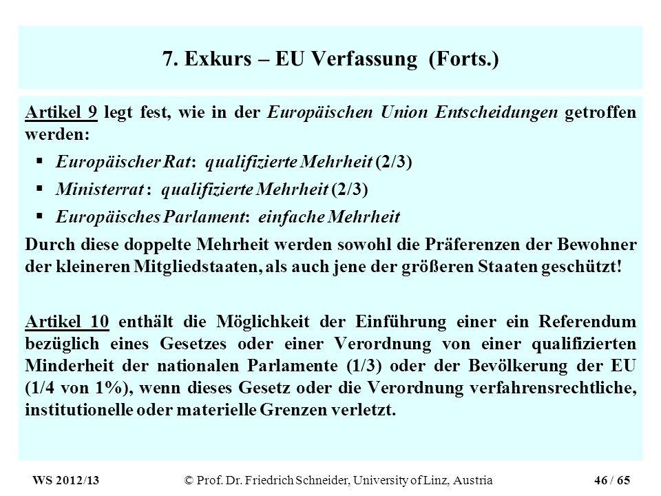 7. Exkurs – EU Verfassung (Forts.) Artikel 9 legt fest, wie in der Europäischen Union Entscheidungen getroffen werden: Europäischer Rat: qualifizierte