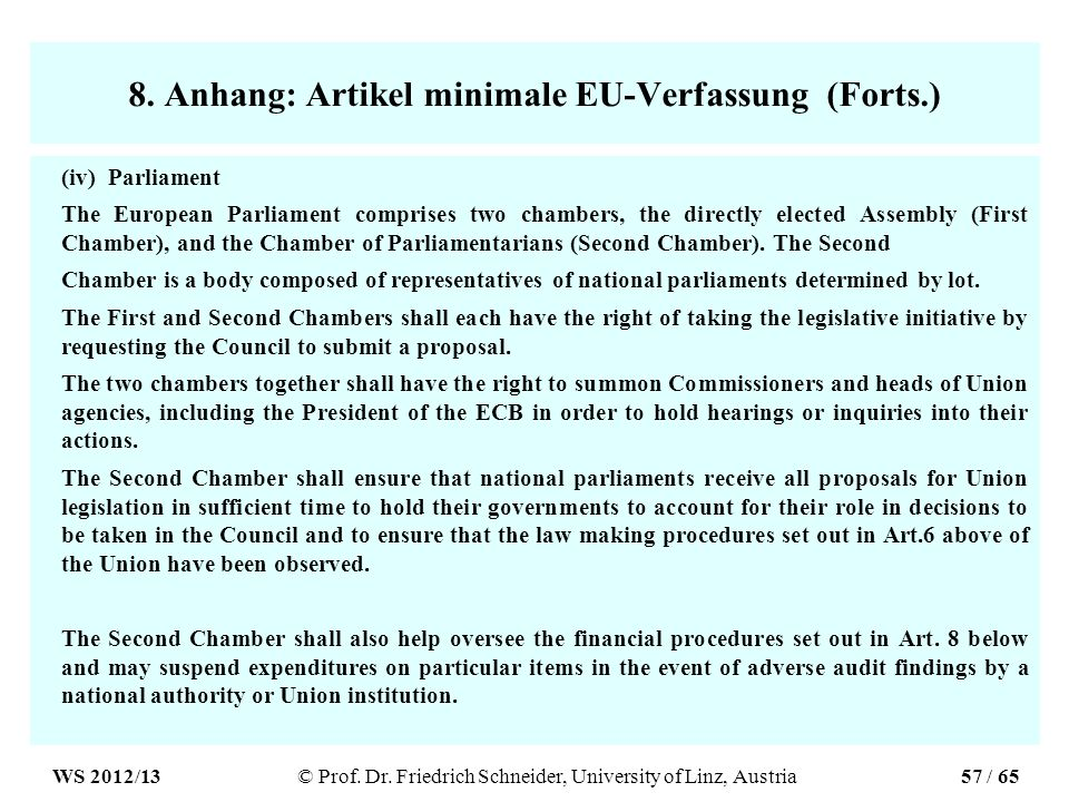 8. Anhang: Artikel minimale EU-Verfassung (Forts.) (iv) Parliament The European Parliament comprises two chambers, the directly elected Assembly (Firs