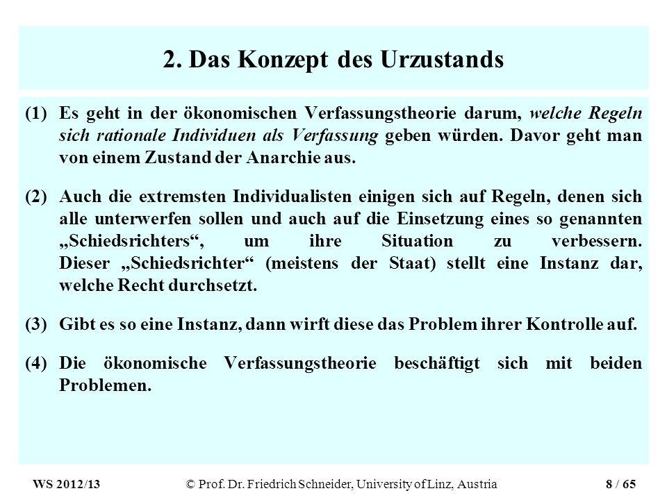 2. Das Konzept des Urzustands (1)Es geht in der ökonomischen Verfassungstheorie darum, welche Regeln sich rationale Individuen als Verfassung geben wü