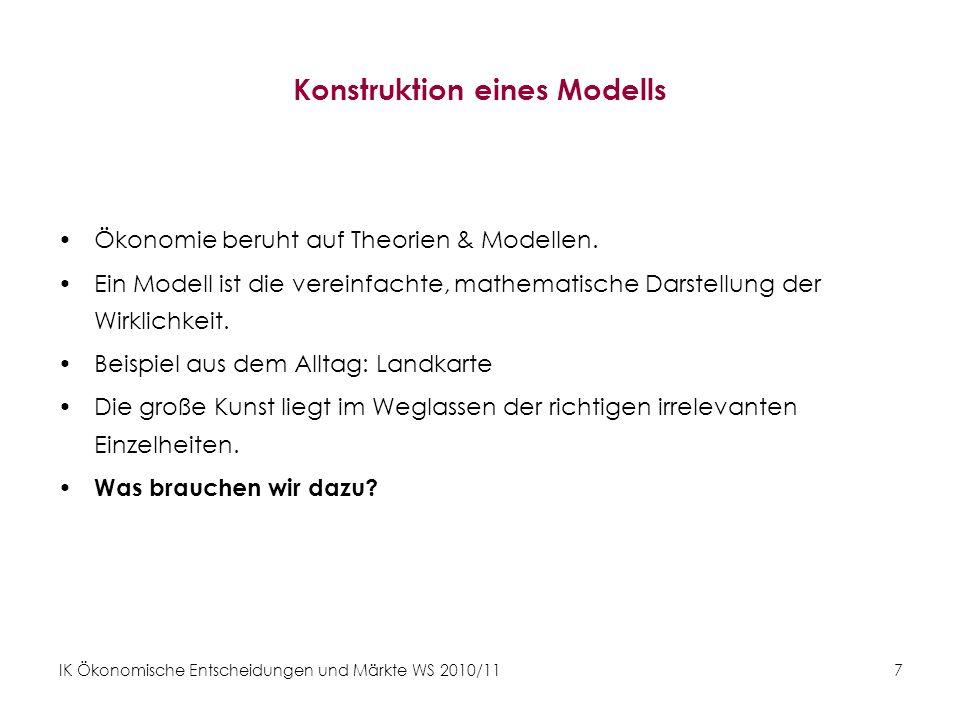 IK Ökonomische Entscheidungen und Märkte WS 2010/11 8 Mathematische Grundlagen Tipp : –http://www.mathe-online.at/http://www.mathe-online.at/ –Sydsaeter, Knut & Hammond, Peter (2004): Mathematik für Wirtschaftswissenschaftler.