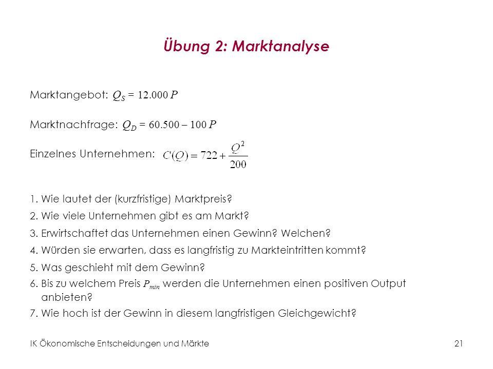 IK Ökonomische Entscheidungen und Märkte21 Übung 2: Marktanalyse Marktangebot: Q S = 12.000 P Marktnachfrage: Q D = 60.500 – 100 P Einzelnes Unternehm