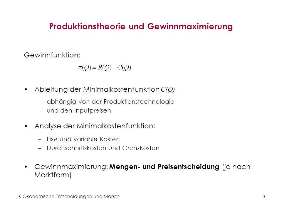 IK Ökonomische Entscheidungen und Märkte3 Produktionstheorie und Gewinnmaximierung Gewinnfunktion: Ableitung der Minimalkostenfunktion C(Q). –abhängig