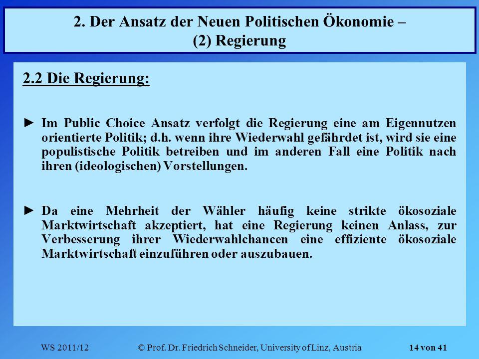 WS 2011/12© Prof. Dr. Friedrich Schneider, University of Linz, Austria 14 von 41 2. Der Ansatz der Neuen Politischen Ökonomie – (2) Regierung 2.2 Die
