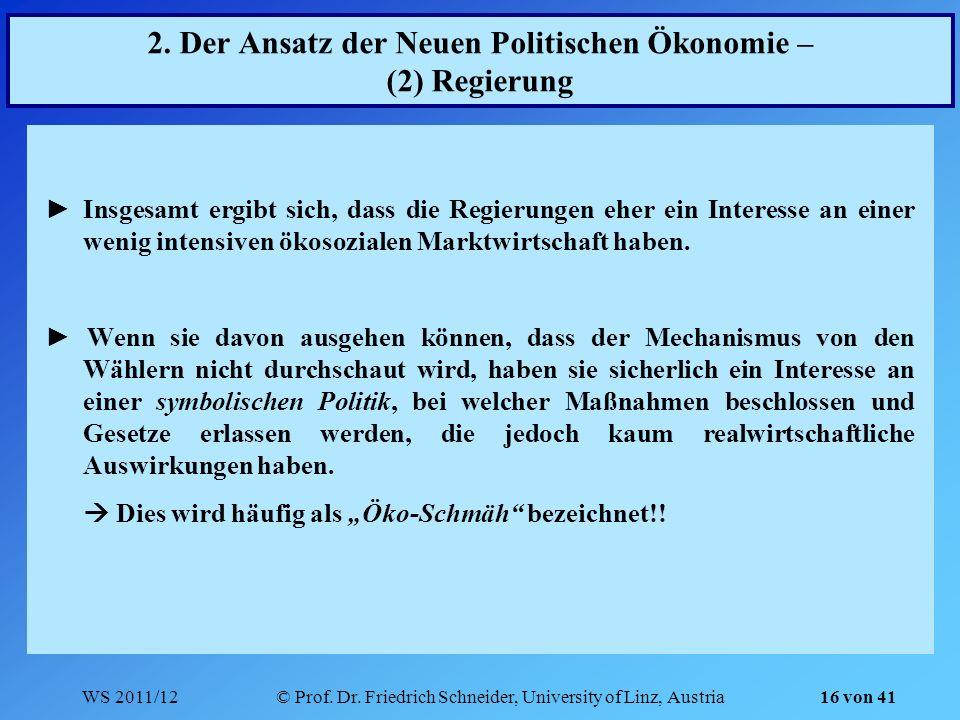 WS 2011/12© Prof. Dr. Friedrich Schneider, University of Linz, Austria 16 von 41 2. Der Ansatz der Neuen Politischen Ökonomie – (2) Regierung Insgesam
