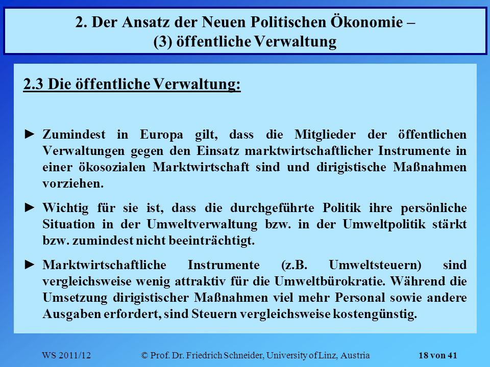 WS 2011/12© Prof. Dr. Friedrich Schneider, University of Linz, Austria 18 von 41 2. Der Ansatz der Neuen Politischen Ökonomie – (3) öffentliche Verwal