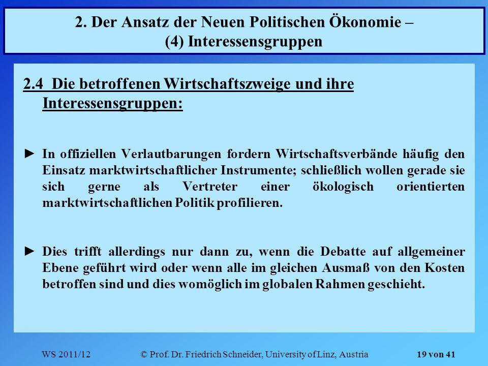 WS 2011/12© Prof. Dr. Friedrich Schneider, University of Linz, Austria 19 von 41 2. Der Ansatz der Neuen Politischen Ökonomie – (4) Interessensgruppen