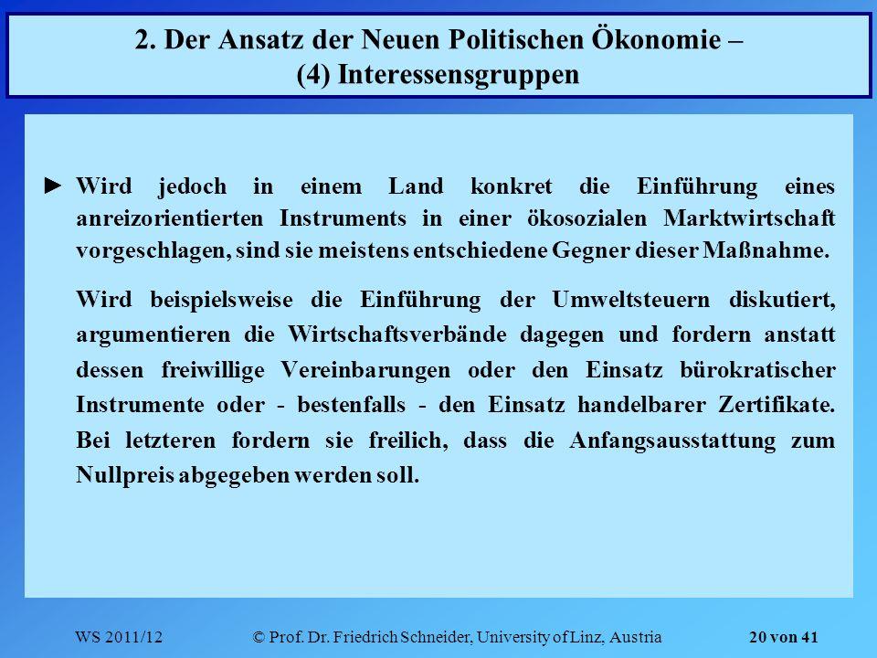 WS 2011/12© Prof. Dr. Friedrich Schneider, University of Linz, Austria 20 von 41 2. Der Ansatz der Neuen Politischen Ökonomie – (4) Interessensgruppen