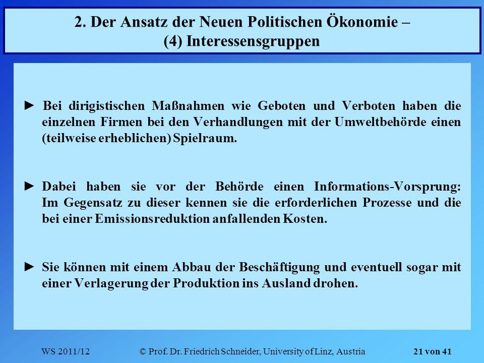 WS 2011/12© Prof. Dr. Friedrich Schneider, University of Linz, Austria 21 von 41 2. Der Ansatz der Neuen Politischen Ökonomie – (4) Interessensgruppen