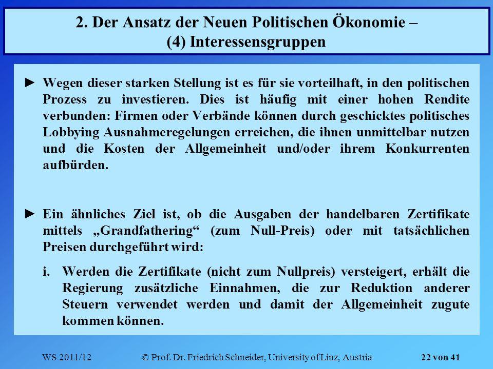 WS 2011/12© Prof. Dr. Friedrich Schneider, University of Linz, Austria 22 von 41 2. Der Ansatz der Neuen Politischen Ökonomie – (4) Interessensgruppen