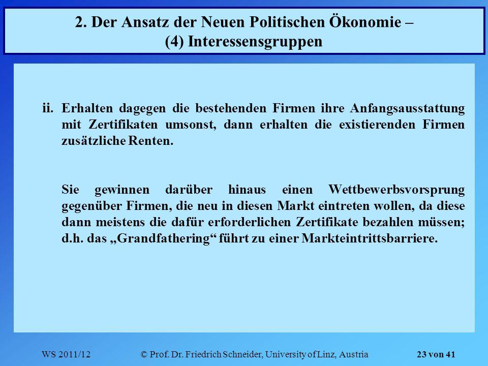 WS 2011/12© Prof. Dr. Friedrich Schneider, University of Linz, Austria 23 von 41 2. Der Ansatz der Neuen Politischen Ökonomie – (4) Interessensgruppen