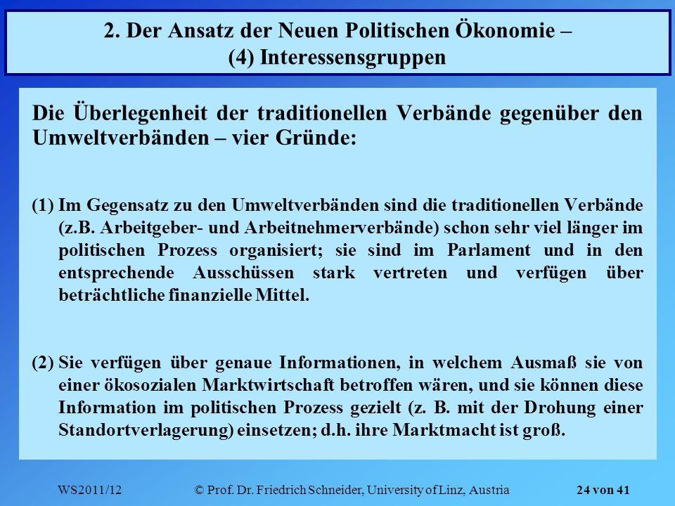 WS2011/12© Prof. Dr. Friedrich Schneider, University of Linz, Austria 24 von 41 2. Der Ansatz der Neuen Politischen Ökonomie – (4) Interessensgruppen