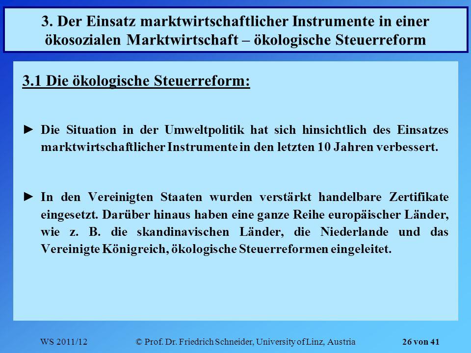 WS 2011/12© Prof. Dr. Friedrich Schneider, University of Linz, Austria 26 von 41 3. Der Einsatz marktwirtschaftlicher Instrumente in einer ökosozialen