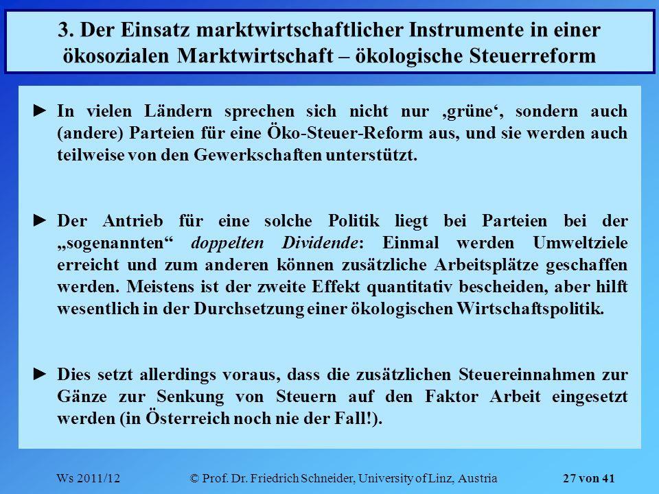 Ws 2011/12© Prof. Dr. Friedrich Schneider, University of Linz, Austria 27 von 41 3. Der Einsatz marktwirtschaftlicher Instrumente in einer ökosozialen