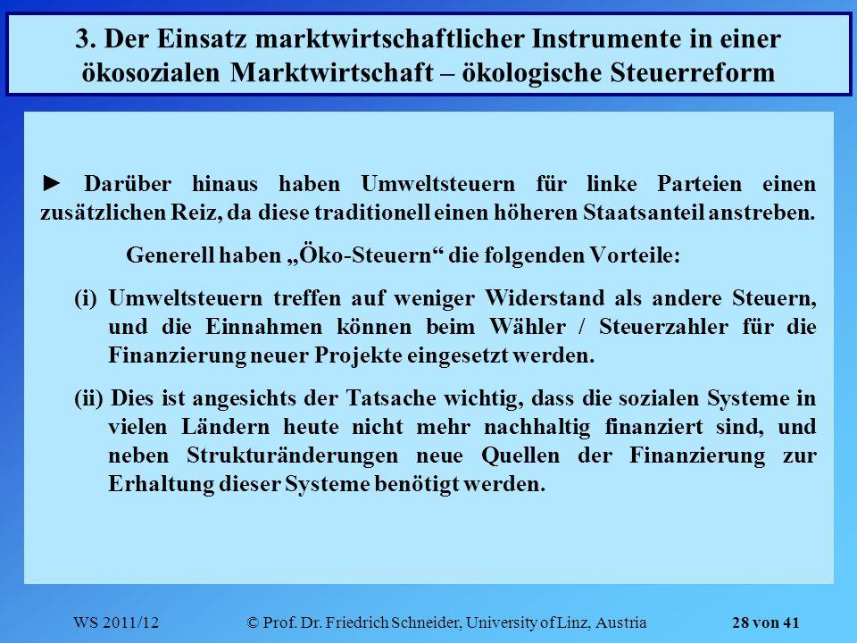 WS 2011/12© Prof. Dr. Friedrich Schneider, University of Linz, Austria 28 von 41 Darüber hinaus haben Umweltsteuern für linke Parteien einen zusätzlic