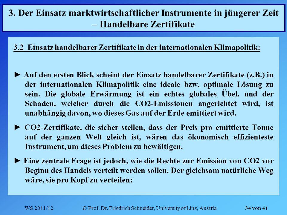 WS 2011/12© Prof. Dr. Friedrich Schneider, University of Linz, Austria 34 von 41 3. Der Einsatz marktwirtschaftlicher Instrumente in jüngerer Zeit – H