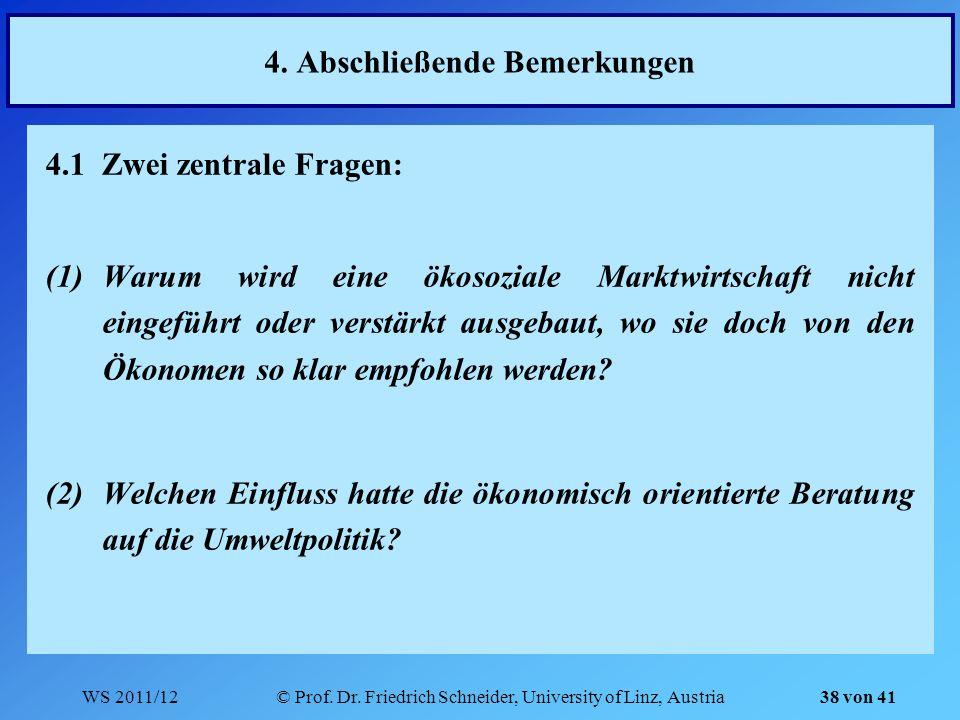 WS 2011/12© Prof. Dr. Friedrich Schneider, University of Linz, Austria 38 von 41 4. Abschließende Bemerkungen 4.1 Zwei zentrale Fragen: (1)Warum wird