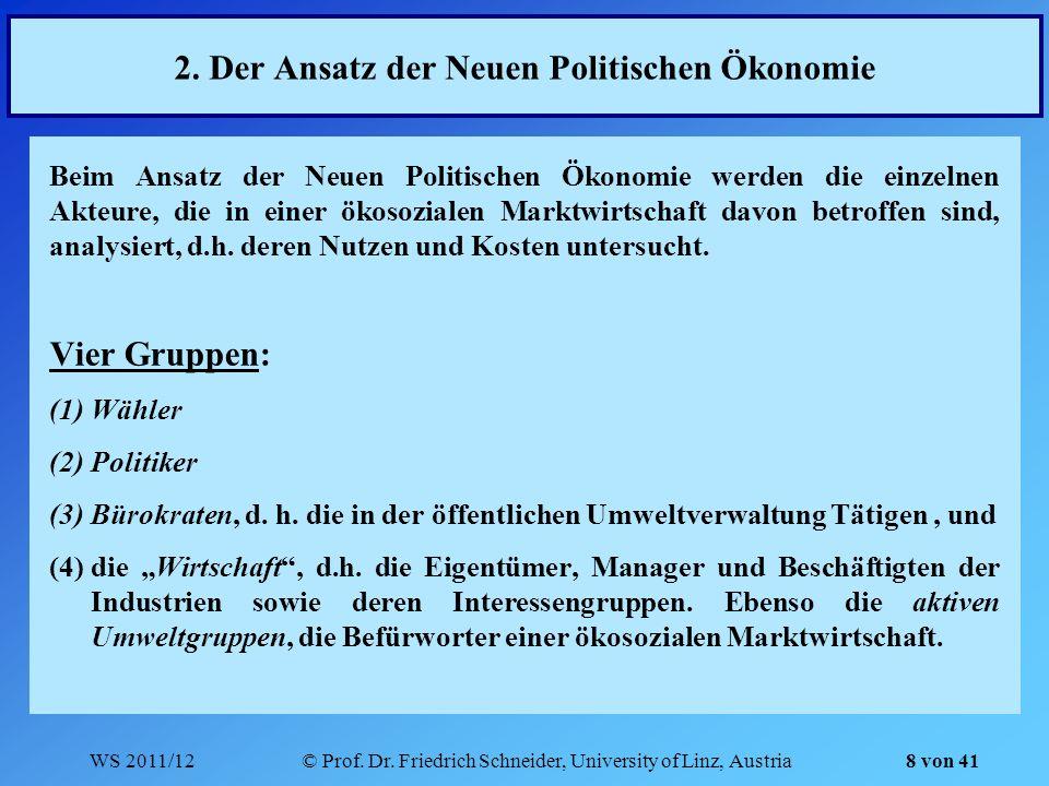 WS 2011/12© Prof. Dr. Friedrich Schneider, University of Linz, Austria 2. Der Ansatz der Neuen Politischen Ökonomie Beim Ansatz der Neuen Politischen