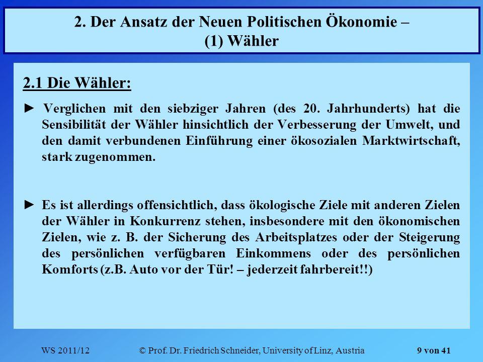 WS 2011/12© Prof. Dr. Friedrich Schneider, University of Linz, Austria 9 von 41 2. Der Ansatz der Neuen Politischen Ökonomie – (1) Wähler 2.1 Die Wähl