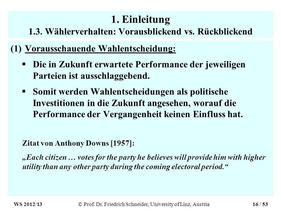 1. Einleitung 1.3. Wählerverhalten: Vorausblickend vs.