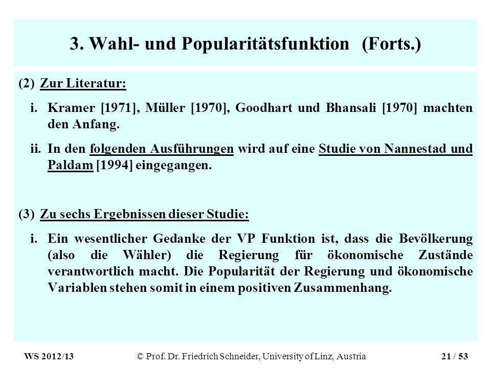 3. Wahl- und Popularitätsfunktion (Forts.) (2)Zur Literatur: i.Kramer [1971], Müller [1970], Goodhart und Bhansali [1970] machten den Anfang. ii.In de