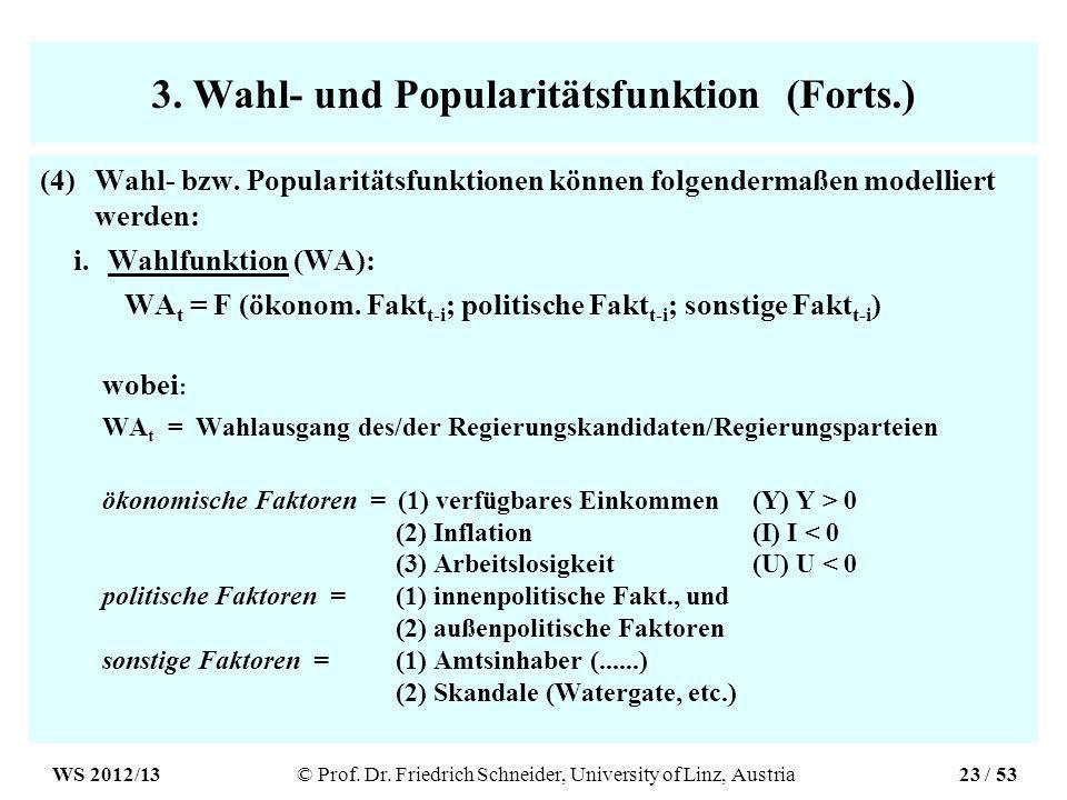 3. Wahl- und Popularitätsfunktion (Forts.) (4)Wahl- bzw.