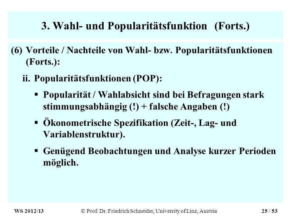 3. Wahl- und Popularitätsfunktion (Forts.) (6)Vorteile / Nachteile von Wahl- bzw.