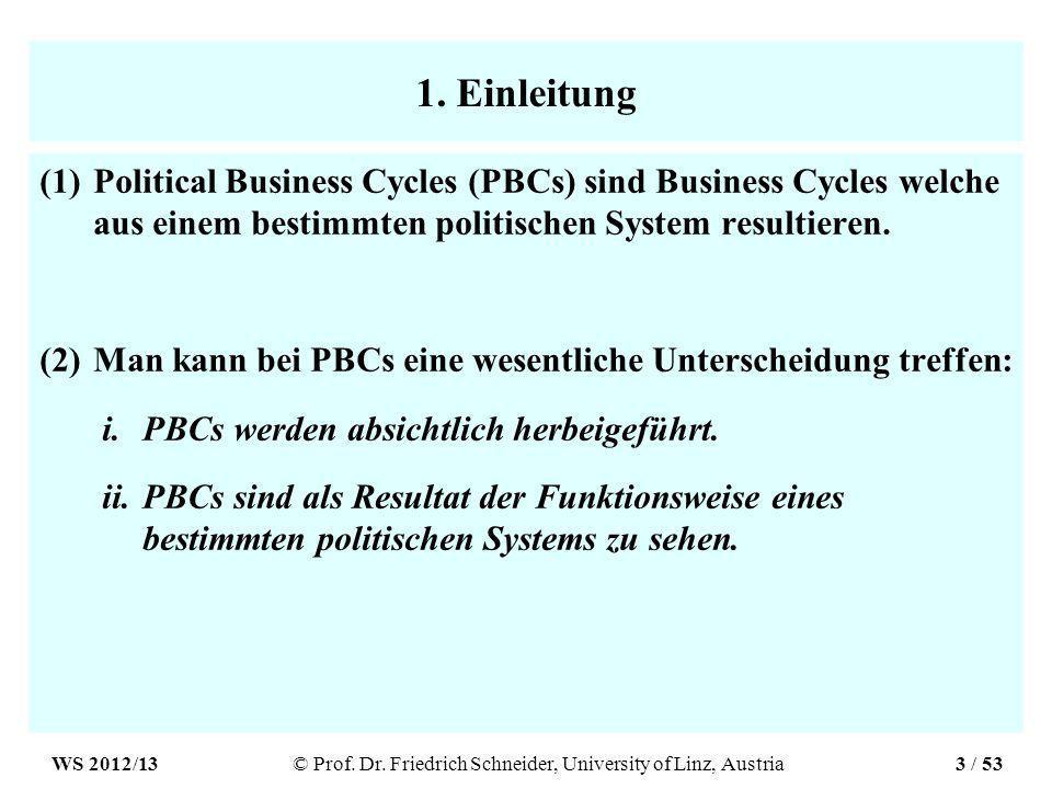 1. Einleitung (1)Political Business Cycles (PBCs) sind Business Cycles welche aus einem bestimmten politischen System resultieren. (2)Man kann bei PBC