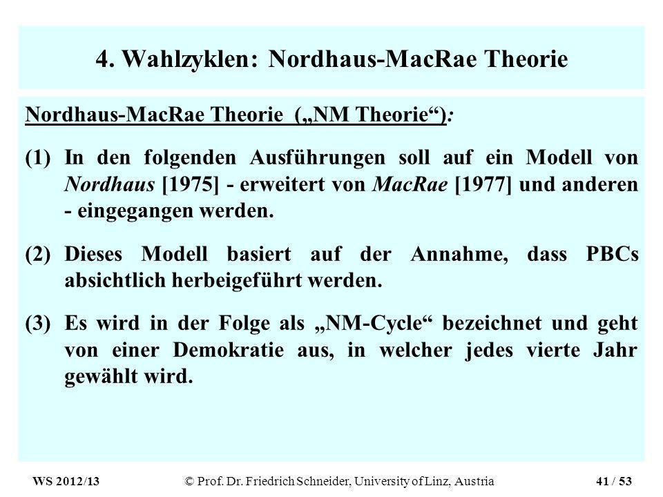 4. Wahlzyklen: Nordhaus-MacRae Theorie Nordhaus-MacRae Theorie (NM Theorie): (1)In den folgenden Ausführungen soll auf ein Modell von Nordhaus [1975]
