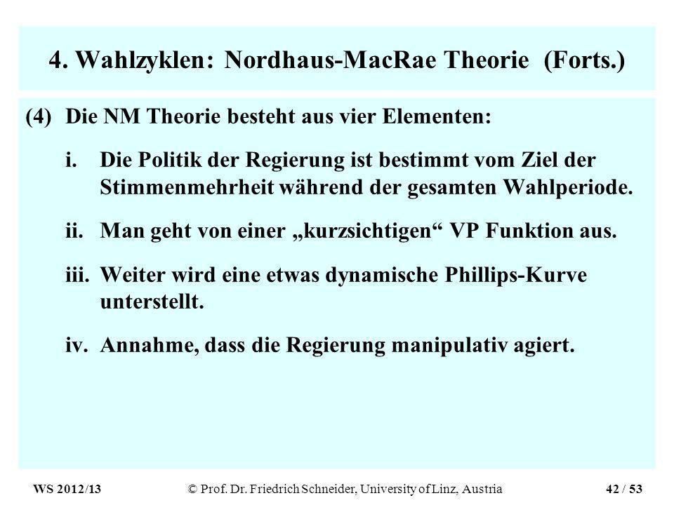 4. Wahlzyklen: Nordhaus-MacRae Theorie (Forts.) (4)Die NM Theorie besteht aus vier Elementen: i.Die Politik der Regierung ist bestimmt vom Ziel der St