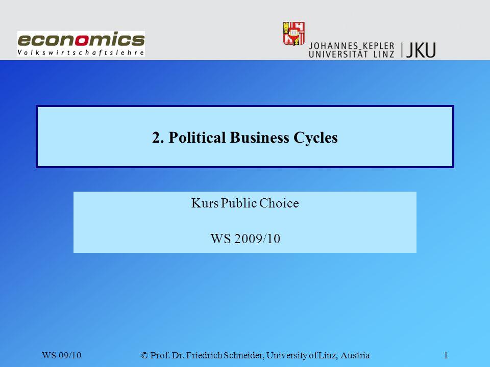WS 09/10© Prof.Dr. Friedrich Schneider, University of Linz, Austria12 2.