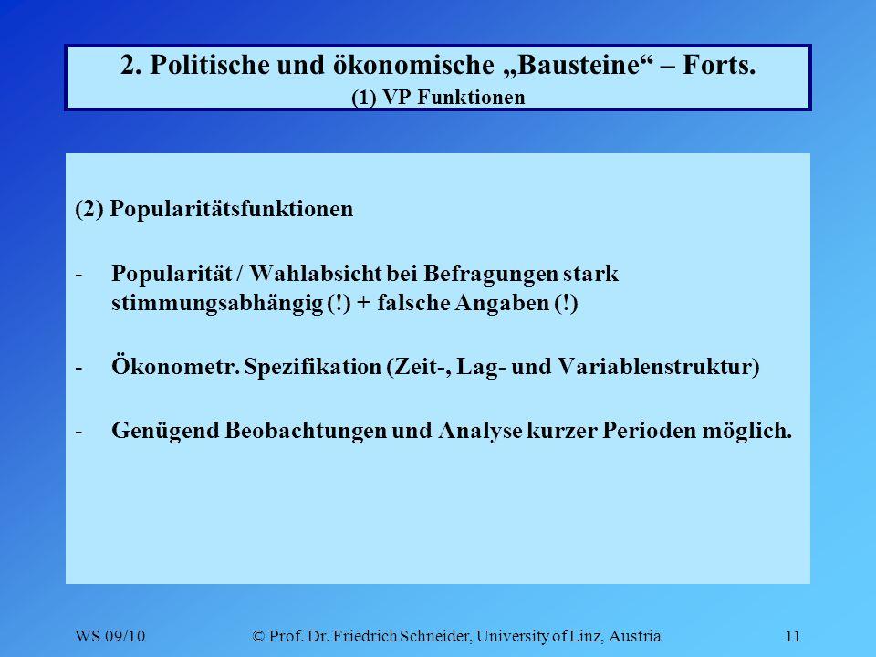 WS 09/10© Prof. Dr. Friedrich Schneider, University of Linz, Austria11 2.
