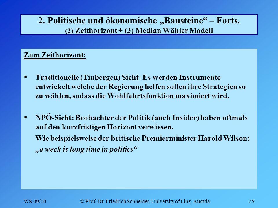 WS 09/10© Prof. Dr. Friedrich Schneider, University of Linz, Austria25 2.