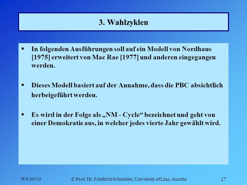 WS 09/10© Prof. Dr. Friedrich Schneider, University of Linz, Austria27 3.