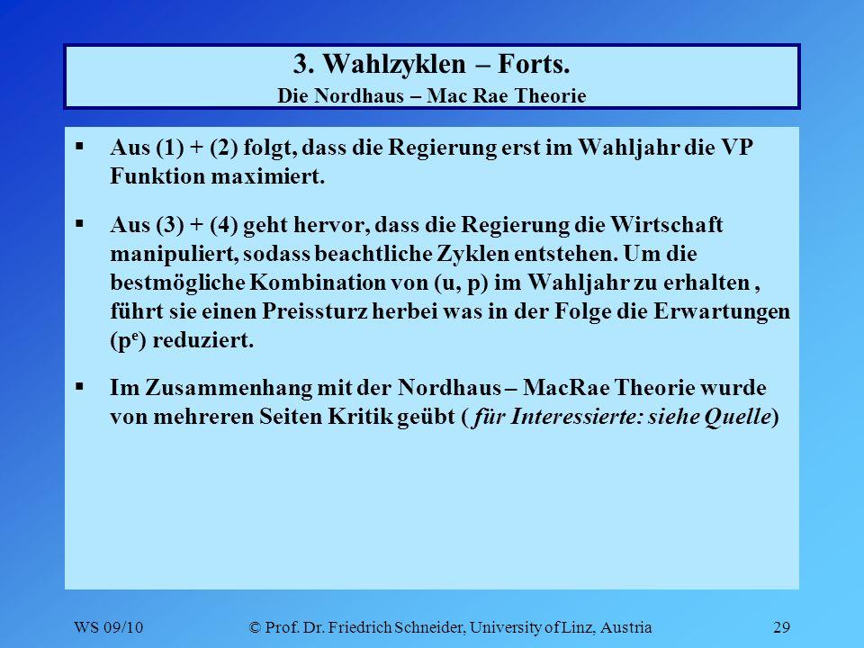 WS 09/10© Prof. Dr. Friedrich Schneider, University of Linz, Austria29 3.