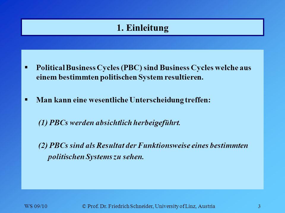 WS 09/10© Prof. Dr. Friedrich Schneider, University of Linz, Austria3 1.