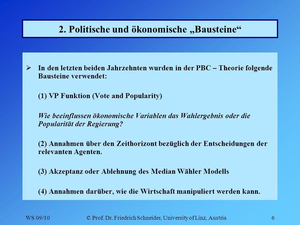 WS 09/10© Prof.Dr. Friedrich Schneider, University of Linz, Austria7 2.