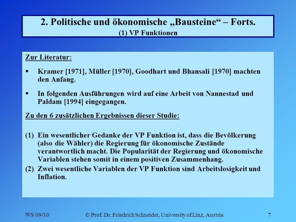 WS 09/10© Prof.Dr. Friedrich Schneider, University of Linz, Austria18 2.