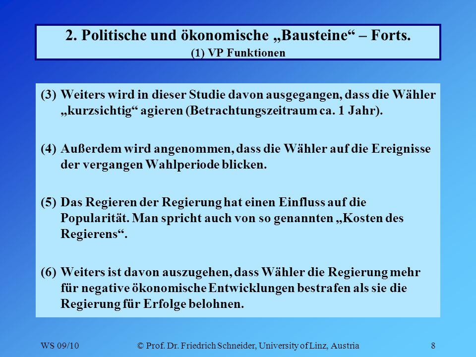 WS 09/10© Prof.Dr. Friedrich Schneider, University of Linz, Austria19 2.