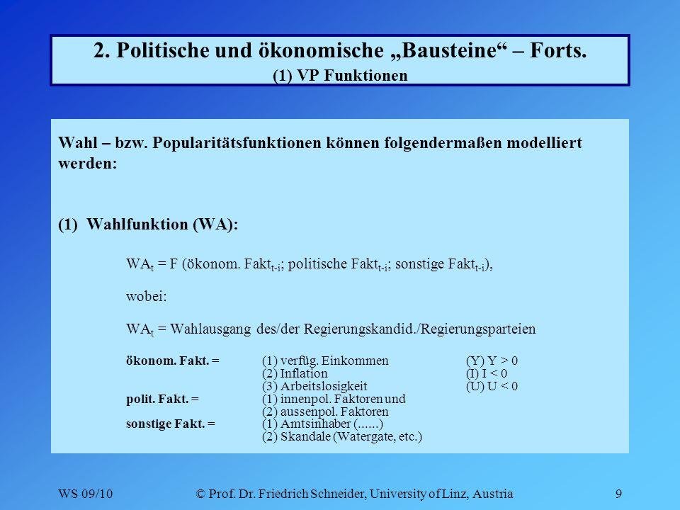 WS 09/10© Prof.Dr. Friedrich Schneider, University of Linz, Austria30 3.