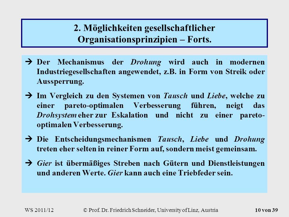 WS 2011/12© Prof. Dr. Friedrich Schneider, University of Linz, Austria10 von 39 2.