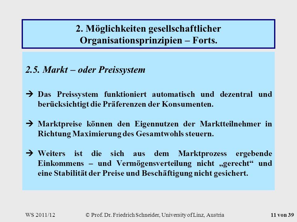WS 2011/12© Prof. Dr. Friedrich Schneider, University of Linz, Austria11 von 39 2.