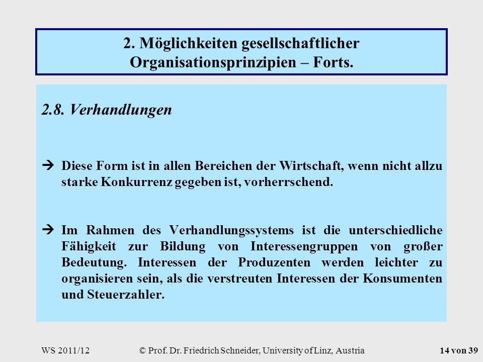 WS 2011/12© Prof. Dr. Friedrich Schneider, University of Linz, Austria14 von 39 2.