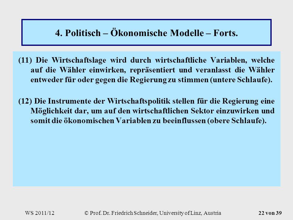 WS 2011/12© Prof. Dr. Friedrich Schneider, University of Linz, Austria22 von 39 4.