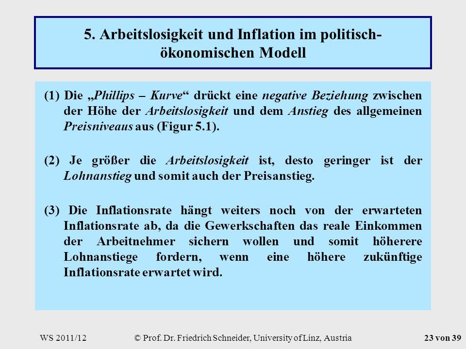 WS 2011/12© Prof. Dr. Friedrich Schneider, University of Linz, Austria23 von 39 5.