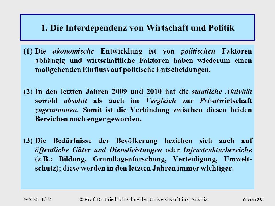 WS 2011/12© Prof. Dr. Friedrich Schneider, University of Linz, Austria6 von 39 1.
