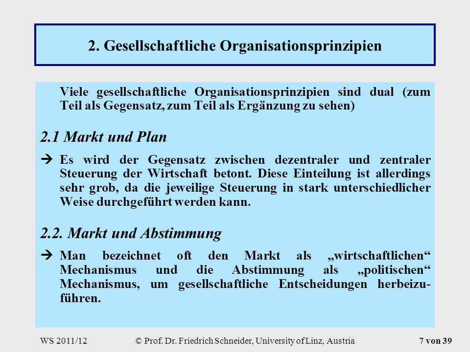 WS 2011/12© Prof. Dr. Friedrich Schneider, University of Linz, Austria7 von 39 2.