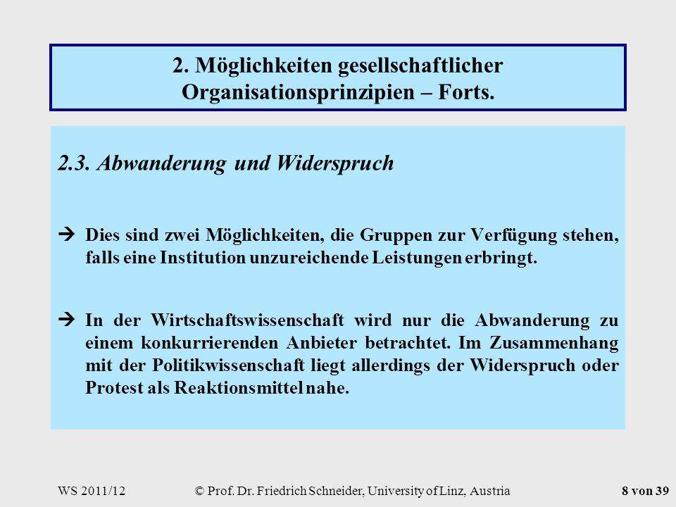 WS 2011/12© Prof. Dr. Friedrich Schneider, University of Linz, Austria8 von 39 2.