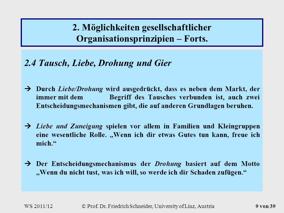 WS 2011/12© Prof. Dr. Friedrich Schneider, University of Linz, Austria9 von 39 2.