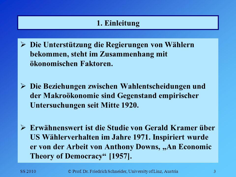 SS 2010© Prof. Dr. Friedrich Schneider, University of Linz, Austria3 1.