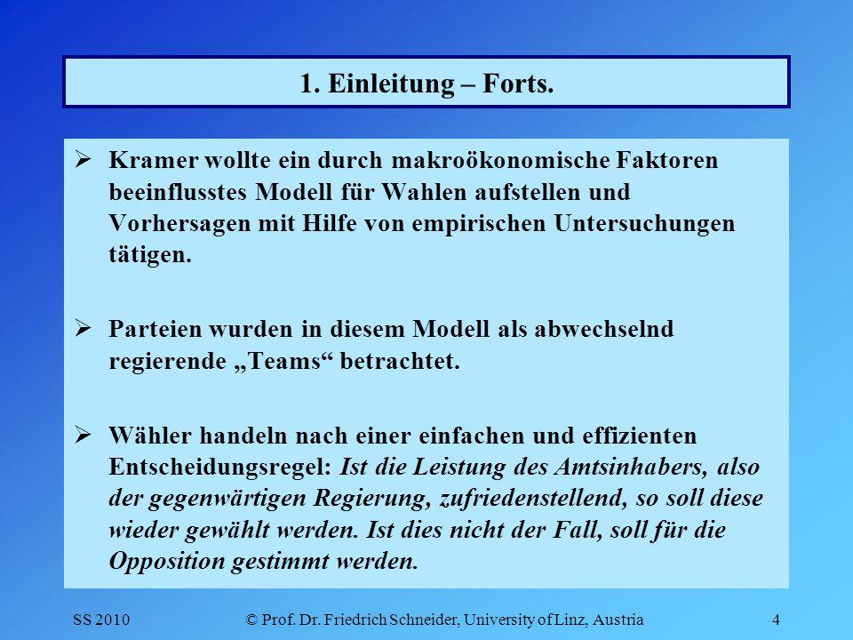 SS 2010© Prof. Dr. Friedrich Schneider, University of Linz, Austria4 1.